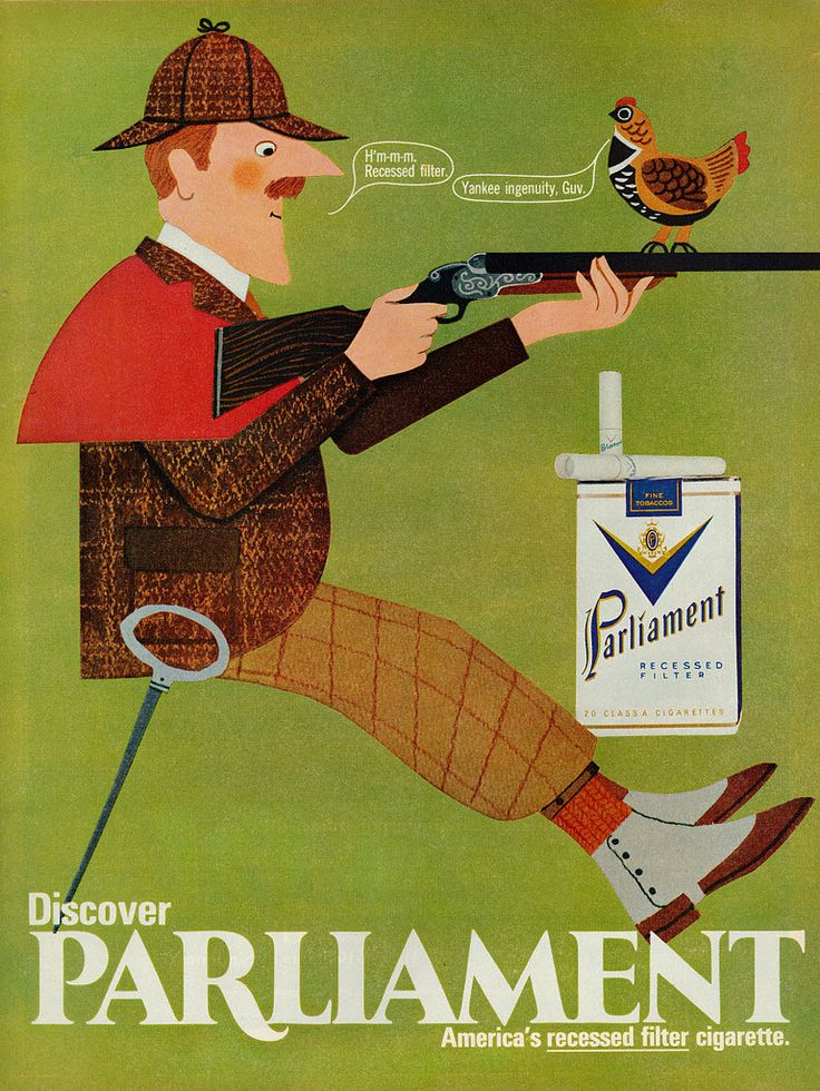 All sizes | 1969 Illustrated Ad, Parliament Cigarettes, with Hunter & Bird | Flickr - Photo Sharing!