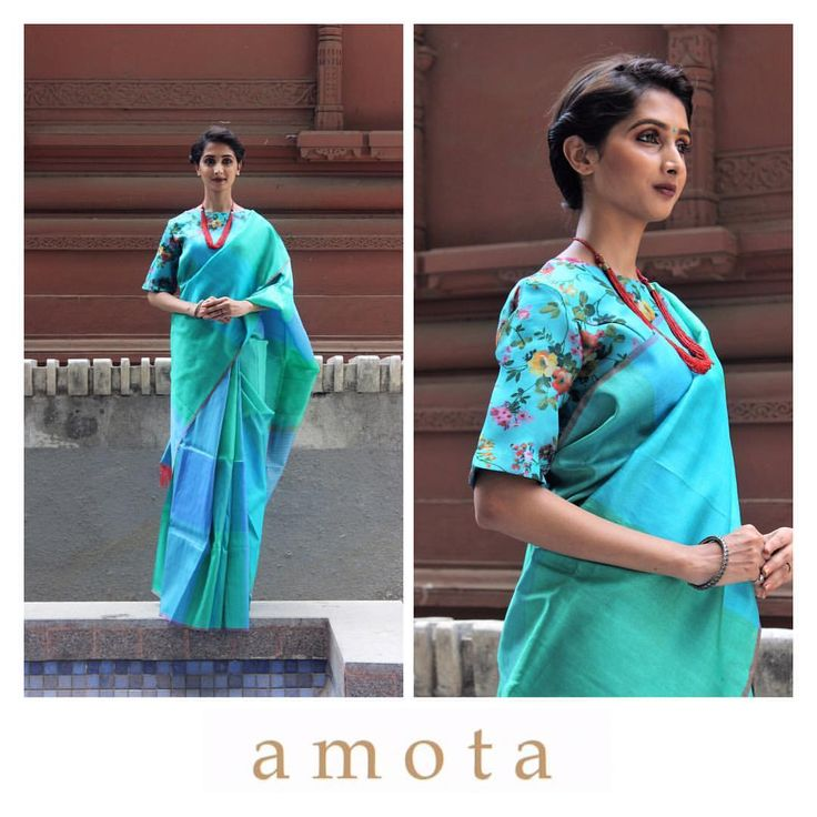 This Blue Shaded Checks Design Handwoven Saree With Floral Boat Neck Blouse Is Made Of Silk. Showcase The Latest Designer Saree With Kolahpuri Heels For An Elegant Look. Show Off Your Style In Designer A M O T A's Online Women's Dresses. Chest Upto 42 CM.