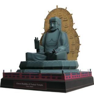 Japan grosse Buddhastatue im Todai - Tempel,Architektur,Papiermodelle,Asien / Ozeanien,Japan,gruen,Welterbe,Gebaeude,grosser Buddha