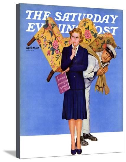 """""""New Chair,"""" Saturday Evening Post Cover, April 25, 1942 Giclee Print by Gene Pelham at Art.com"""