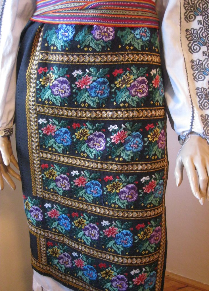 Antique hand embroidered Romanian traditional costume's skirt . Available at www.greatblouses.com