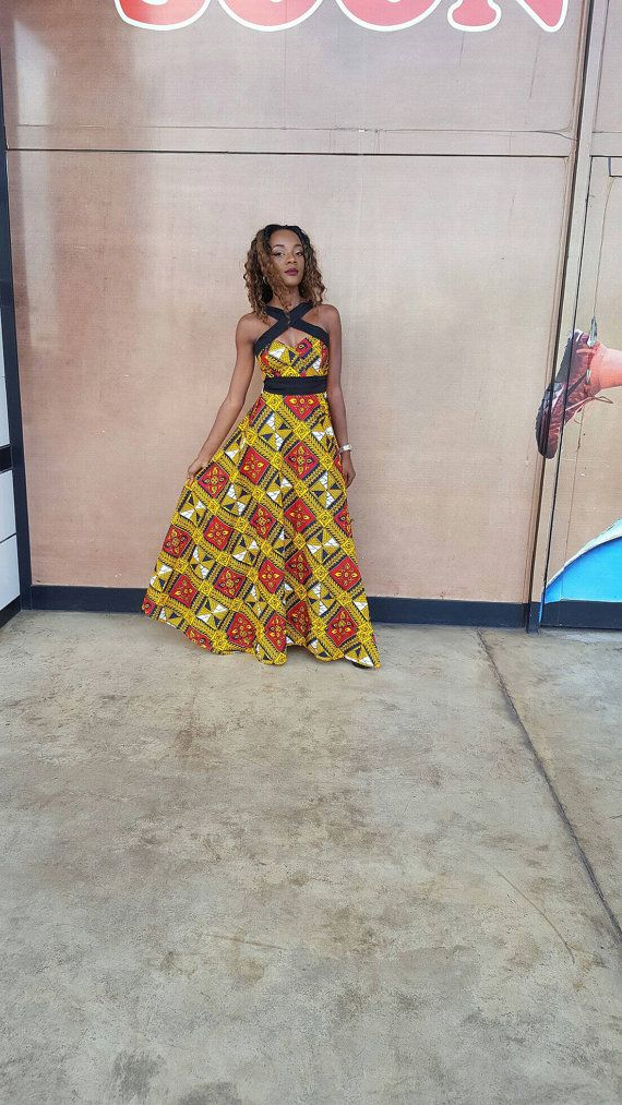 Robe maxi africaine robe maxi Ankara maxi jupe robes par TrueFond
