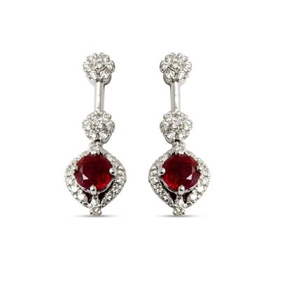 A beautiful hanging earring with a pair of breathtaking rubies