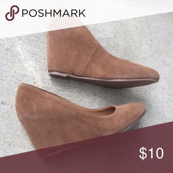 NWOT Camel Wedges These suede-like camel colored wedges are new without tags. Shoes Wedges