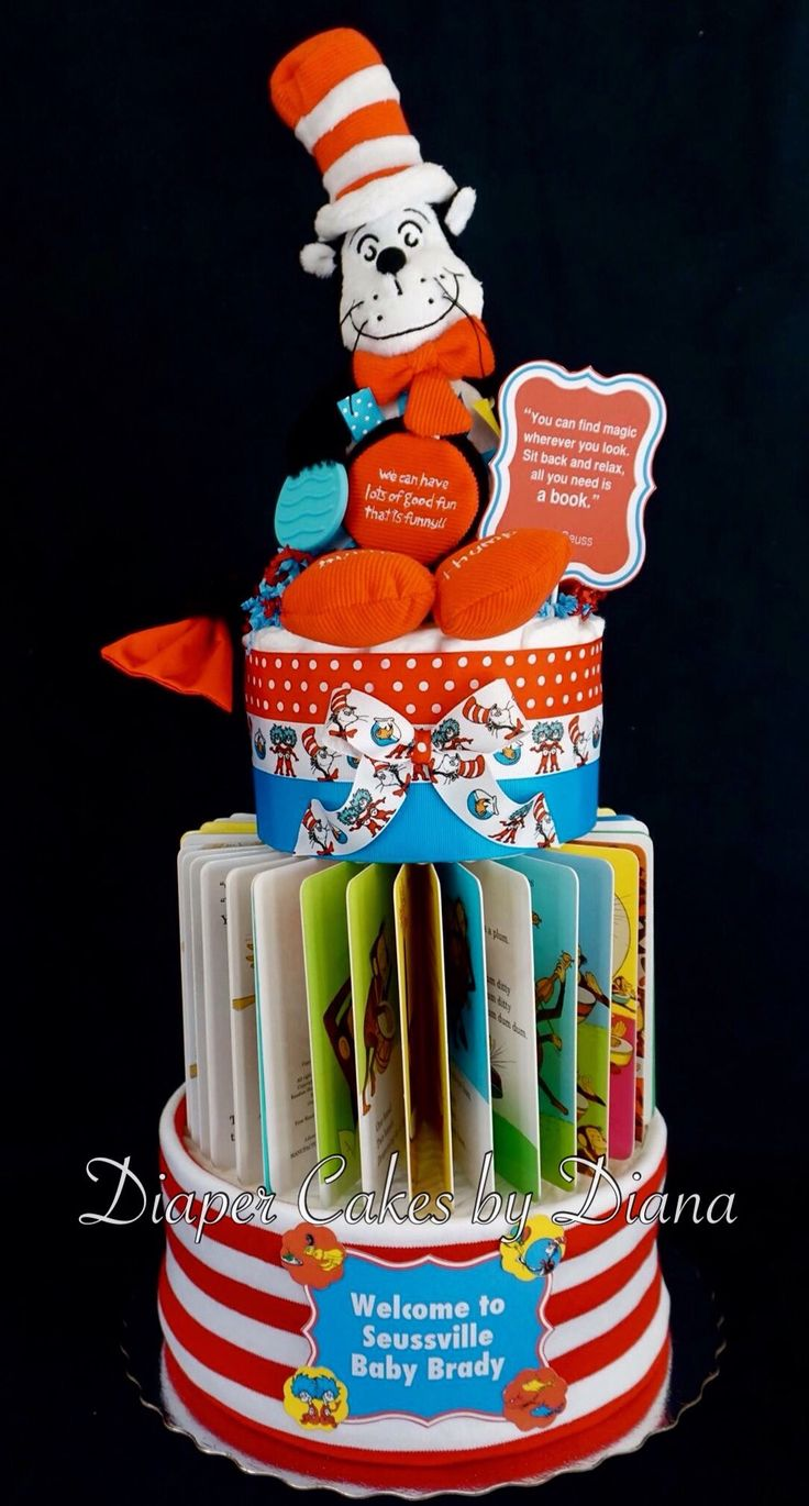 Dr. Seuss Themed Diaper Cake created for a book themed baby shower.  www.facebook.com/DiaperCakesbyDiana