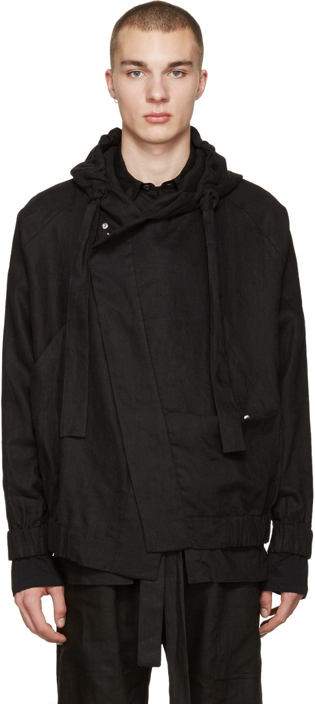 Phoebe English - Black Linen Bomber Jacket