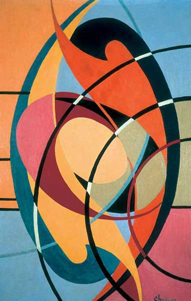 """Wassily Kandinsky (1866 -1944) In Murnau, waar Gabriele Münter woonde, zou hij in 1910 het abstracte schilderen ontdekt hebben, naar aanleiding van één van zijn omgekeerde figuratieve werken. Het schilderij had geen onderwerp, het stelde geen enkel herkenbaar object voor, het was uitsluitend samengesteld uit lichtende kleurvlekken ..."""" verklaarde hij."""
