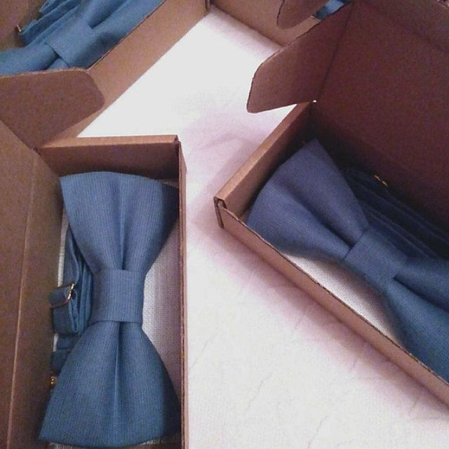Dusty blue bow ties for wedding
