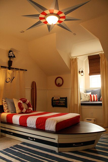 nautical bedroom. Love the compass rose on the ceiling.