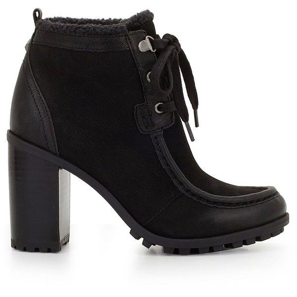 Sam Edelman Women's Madge Sherpa-Lined Ankle Boots ($120) ❤ liked on Polyvore featuring shoes, boots, ankle booties, black, laced up ankle boots, black bootie, faux fur booties, black fur boots and ankle boots