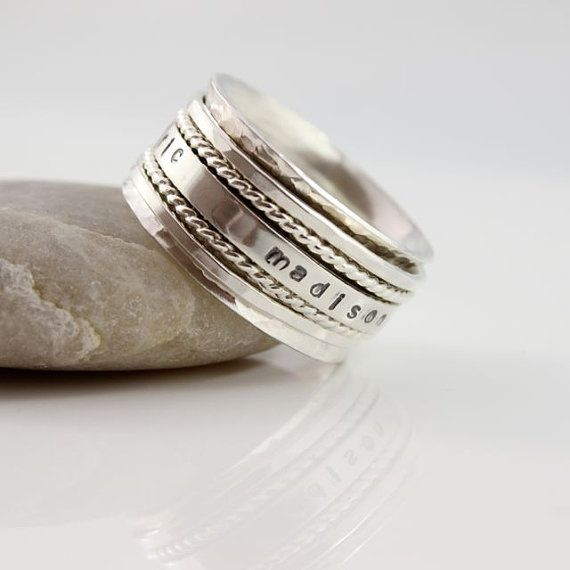 Mother's Day Gift, Mothers Spinner Ring, Personalized Name Spinner Ring, Custom Made Hand Stamped Ring on Etsy, $174.71 AUD