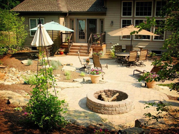 Exterior Designs,Surprising Patio Backyard Design Ideas With Patio Table  Umbrella And Round Fire Pit Featuring Beautiful Green Plant,Marvelous  Backyard ...