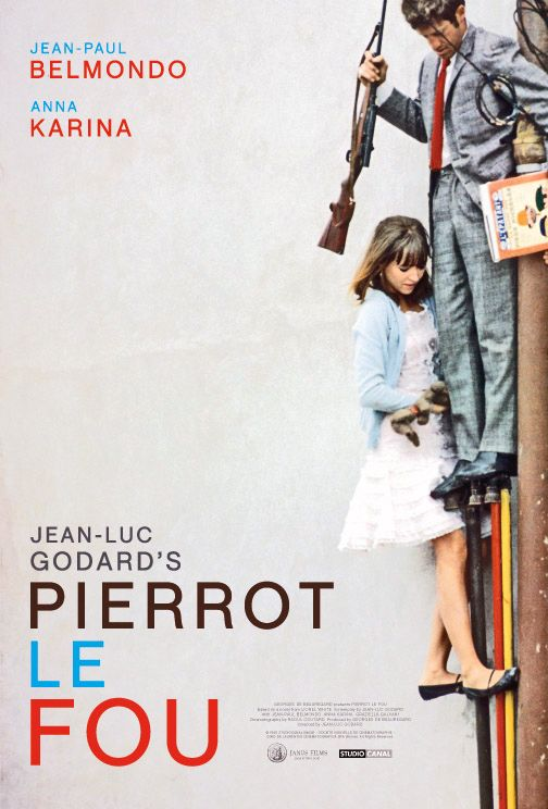 """""""Pierrot Le Fou"""" (1965): """"Pierrot escapes his boring society and travels from Paris to the Mediterranean Sea with Marianne, a girl chased by hit-men from Algeria. They lead an unorthodox life, always on the run."""""""