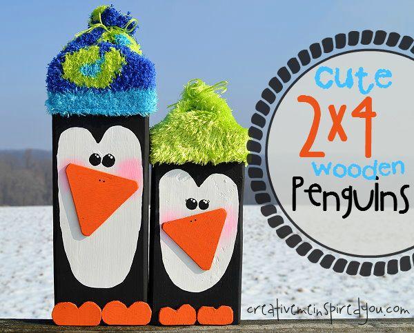 2 x 4 Wooden Penguins - CreativeMeInspiredYou.com