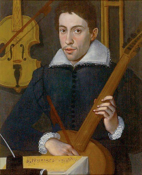 "Claudio Monteverdi as a young man. He worked with conventional forms of polyphony in his early music in the Renaissance fashion (as in his madrigals). Later he began developing new techniques of  form and melody, and developed the ""basso continuo,"" which became the standard for Baroque music."