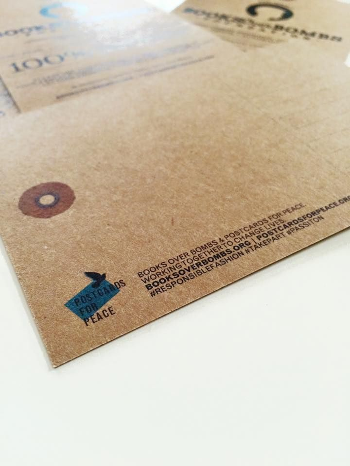A special hang-tag that turns into a postcard encouraging customers to send Syrian refugee children a handwritten message of hope and encouragement.