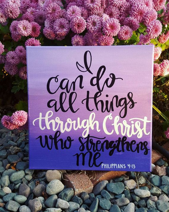 Philippians 4:13 Handmade Scripture Canvas by ASignFromHeaven                                                                                                                                                                                 More
