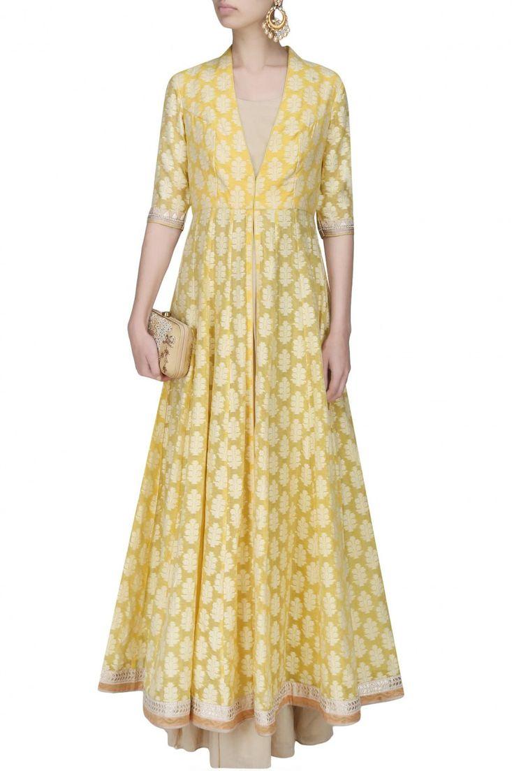 Anita Dongre Nude gown and yellow leaf motifs jacquard kurta set £253