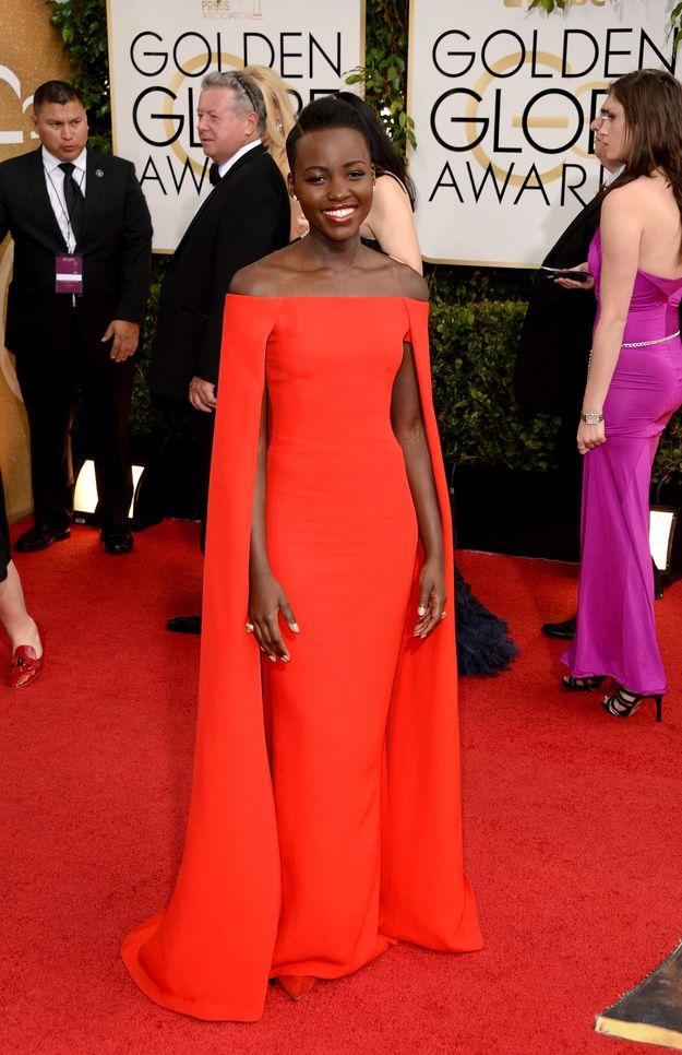 Lupita Nyong'o, gala party, golden globes 2014, red dress