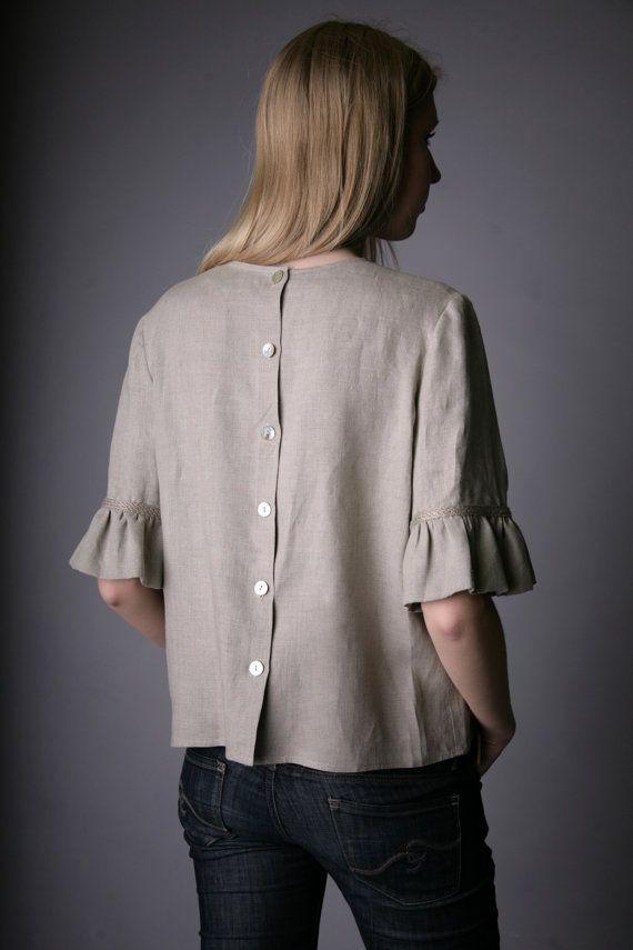 Puro lino Natural blusa para mujer