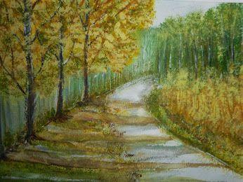Waldweg - in Aquarell