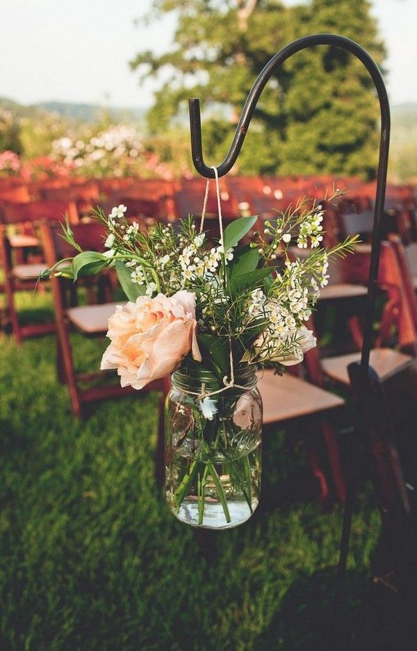rustic wedding ceremony decoration ideas with mason jars
