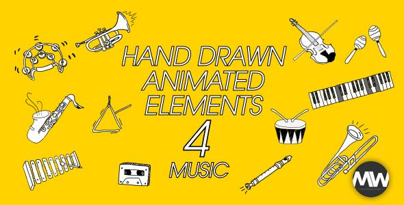 Name: Animated Hand-Drawn Elements 04    The elements are hand drawn and a true labor of motion graphic love.    The project is easily customizable and simple to drop into any project, with a numbe...