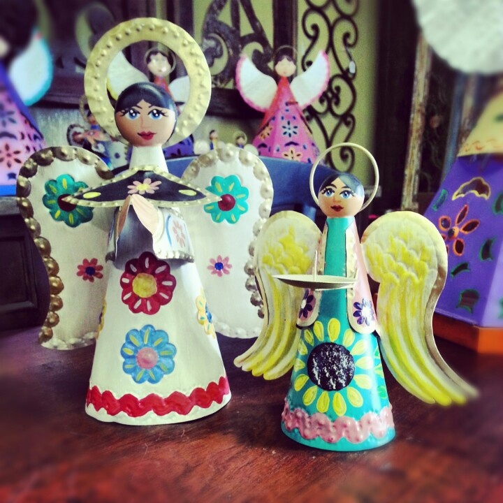 Colorful tin tree topper angels handmade from mexico