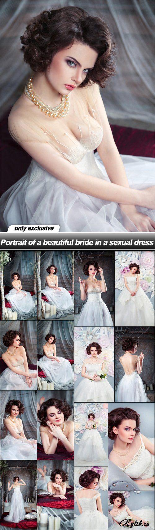 Красивая невеста в сексуальном платье фотоклипарт