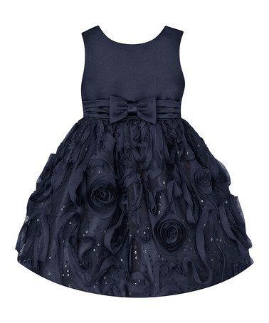 Love this Navy Rosette Bow Dress - Toddler on #zulily! #zulilyfinds
