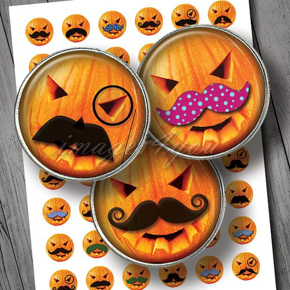 Pumpkin mustache 48 printable Halloween bottle cap by images4you