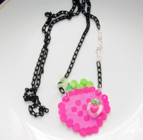 CLEARANCE yummy pinky hama beads strawberry in by rabbitsillusions