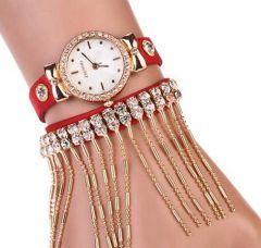 Kırmızı Nubuk Kayışlı, Zincirli ve Parlak Taşlı Bayan Saat