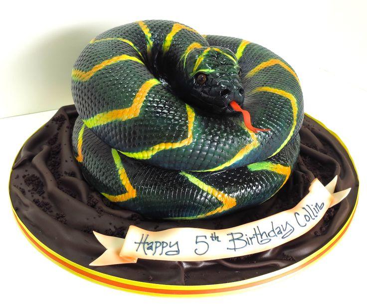 Yellow Boa Snake Cake