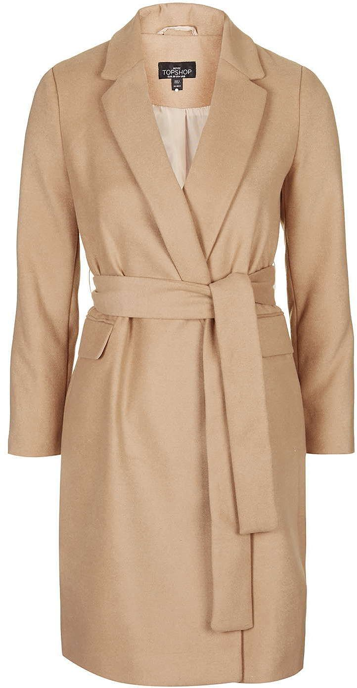 Womens camel petite belted coat from Topshop - £79 at ClothingByColour.com