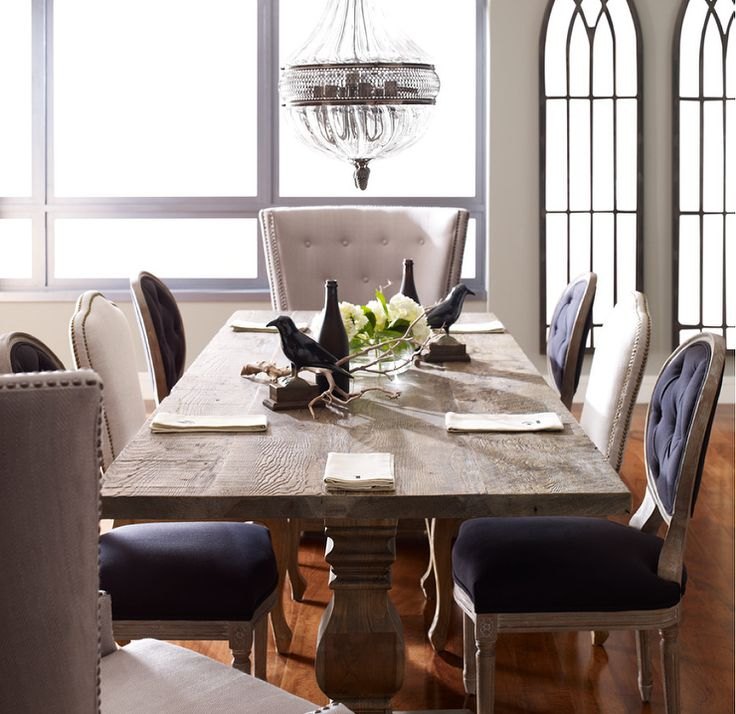 Inspired By Early French Architecture This Distressed Solid Wood Trestle Dining Tables Combines Modern Functionality With A Historical Design