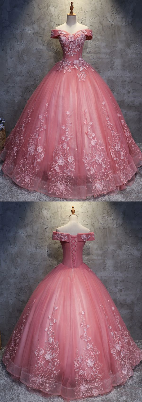 Ball Gown Off-the-Shoulder Floor-Length Pink Wedding Dress with Appliques