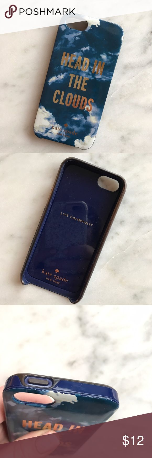 Kate Spade Head in the Clouds iPhone 5/5s Case Used, but excellent condition! Some edges are worn (shown in pictures) and the front bumper is a darker color. Need more pictures? Please just ask! 😊☁️ kate spade Accessories Phone Cases
