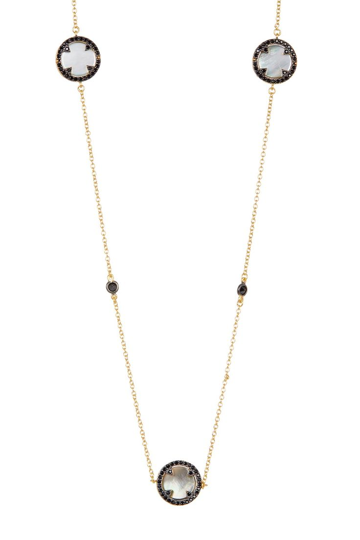14K Gold Plated Sterling Silver Mother of Pearl Harlequin Round Pendant Necklace
