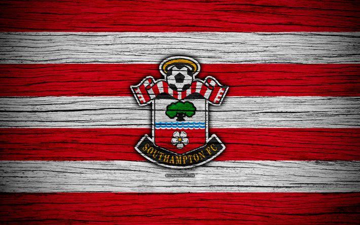 Download wallpapers Southampton, 4k, Premier League, logo, England, wooden texture, FC Southampton, soccer, football, Southampton FC