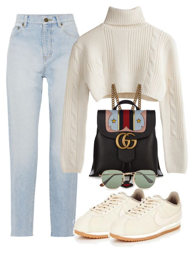 """""""Untitled #3789"""" by camilae97 ❤ liked on Polyvore featuring Yves Saint Laurent, Gucci, Ray-Ban and NIKE"""