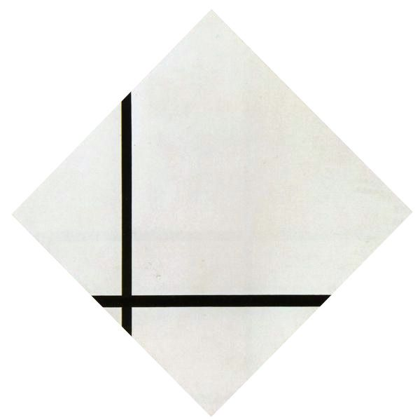 Composition with tow lines, 114cm 1931, Mondriaan.