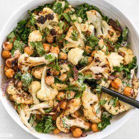 Roasted Cauliflower Salad with Lemon Tahini Dressing - Budget Bytes