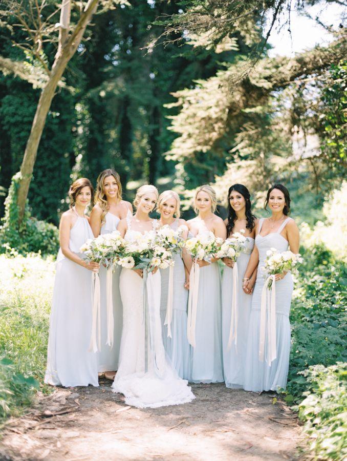 Pale blue bridesmaid dresses: http://www.stylemepretty.com/2016/06/21/spring-golden-gate-club-wedding/ | Photography:Brumley and Wells - http://brumleyandwells.com/