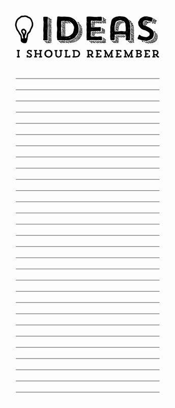 Printable -- Ideas List
