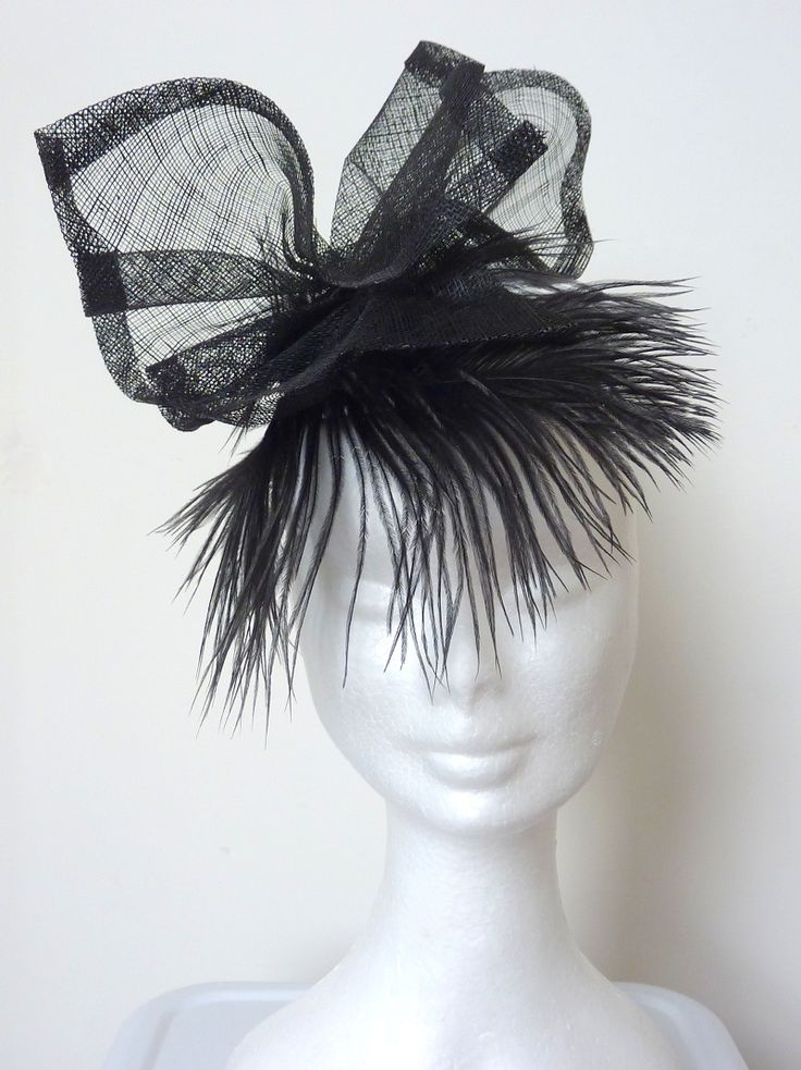 Race hat/ cocktail hat/Melbourne Cup Black sinamay bow, black feather fringe, black lace over white silk base. Handmade, hand blocked.