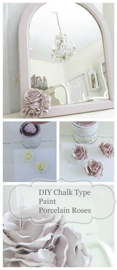 DIY Chalk Type Paint Porcelain Roses - White Lace Cottage