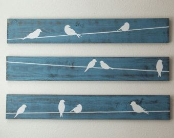 Rustic Wall Art - Birds on a wire 3 piece set, LARGE- I could totally make these and I like them a lot
