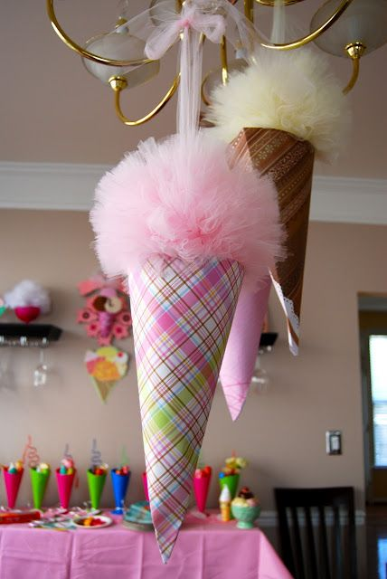 Tulle Pom Pom Ice Cream Party  http://sparklingeventdesigns.blogspot.com/2010/09/real-party-marleys-sweet-shoppe-1st.html