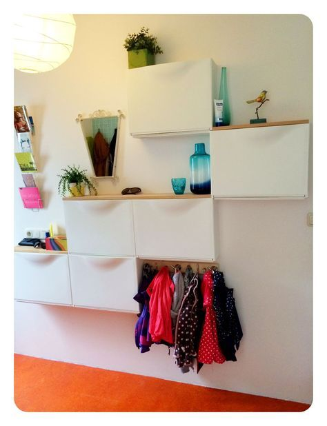 Hallway Storage/ Place For Purse And Keys. Kids Bags And Gloves. Cute!